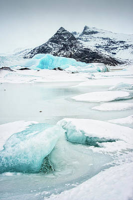 Print featuring the photograph Fjallsarlon Glacier Lagoon Iceland In Winter by Matthias Hauser