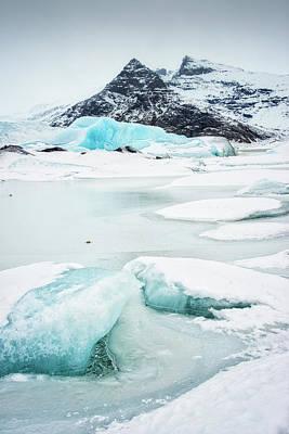 Fjallsarlon Glacier Lagoon Iceland In Winter Art Print by Matthias Hauser