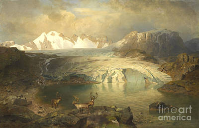 Fjord Landscape With Glacier And Reindeer  Art Print by Celestial Images
