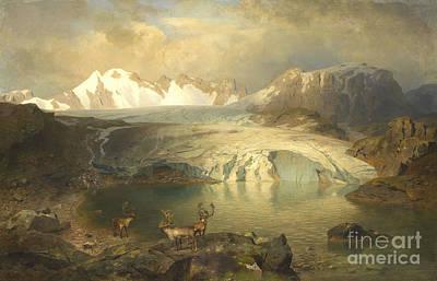 Fjord Landscape With Glacier And Reindeer  Art Print