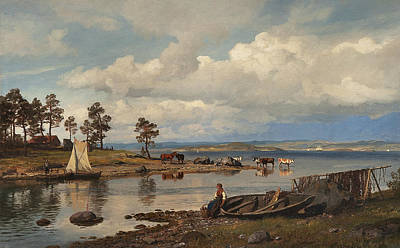 Fjord Landscape With People Art Print by Hans Gude