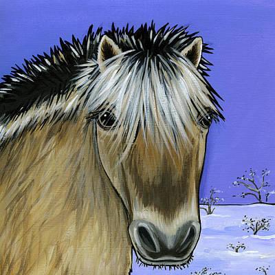 Snow Scene Painting - Fjord Pony by Leanne Wilkes