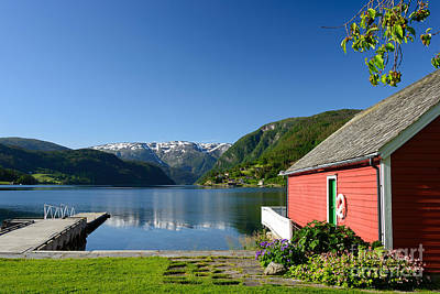 Photograph - Fjord View With Boathouse by IPics Photography