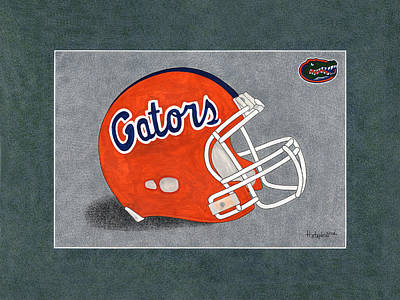 Fla. Gators Helmet T-shirt  Art Print by Herb Strobino
