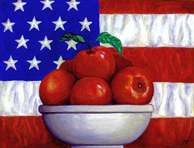 Fourth Of July Painting - Flag And Apples by Linda Mears