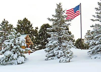 Flag And Snowy Pines Art Print by Dawn Key
