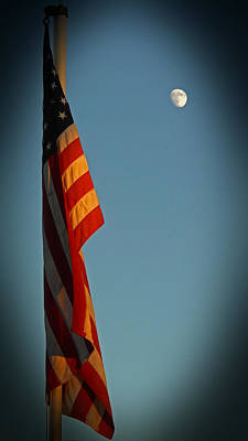 Photograph - Flag And The Moon by Charles Ables