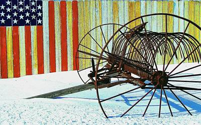 Art Print featuring the photograph Flag And The Wheel by John Hartman