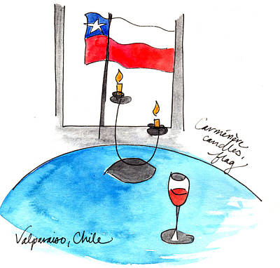 Painting - Flag And Wine by Anna Elkins