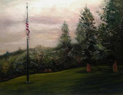 Painting - Flag Pole At Harborview Park by J Reynolds Dail