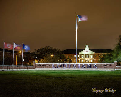 Photograph - Flag At Night In Wind by Gregory Daley  MPSA