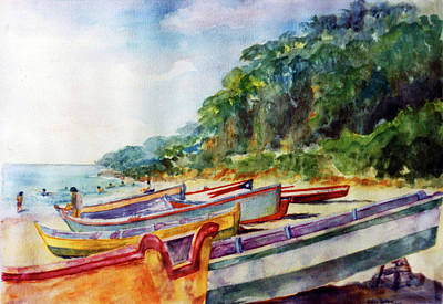 Puerto Rico Painting - Flag Boat Crashboat Beach by Estela Robles