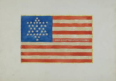 Red White And Blue Drawing - Flag - Civil War by Edward Grant