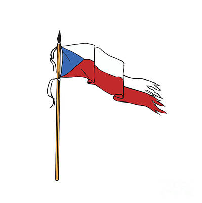 Flag Czech Republic Torn Ripped Retro Art Print