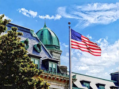 Photograph - Flag Flying Over Tecumseh Court by Susan Savad