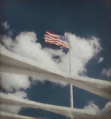 Wall Art - Photograph - American Flag Flying Over The Uss Arizona Memorial by Martin Belan