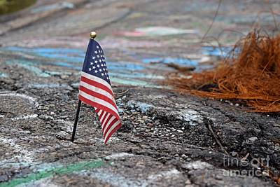 Photograph - Flag In A Crack In The Pavement by Ben Schumin