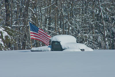 Flag In The Snow Art Print by David Bishop