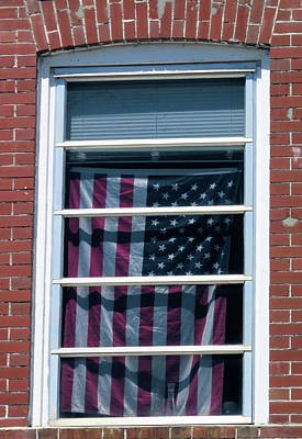 Photograph - Flag In The Window by Rosalie Scanlon