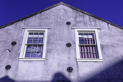 Nola Photograph - Flag In Window by Garry Gay