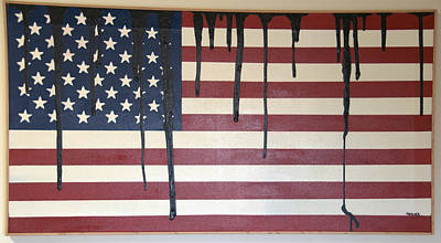 Painting - Flag Number 2 -- Bp April 20 2010 Like Tears Flowing  by Brian Hoover