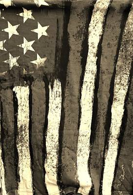 Photograph - Flag Of America Sepia by Rob Hans