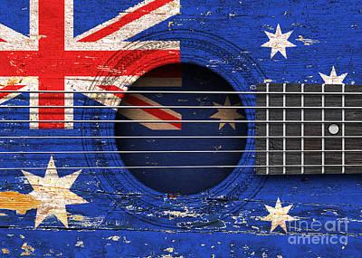 Six Flags Digital Art - Flag Of Australia On An Old Vintage Acoustic Guitar by Jeff Bartels