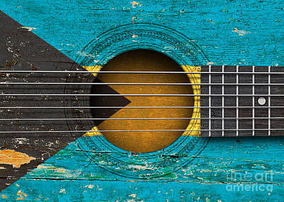 Six Flags Digital Art - Flag Of Bahamas On An Old Vintage Acoustic Guitar by Jeff Bartels
