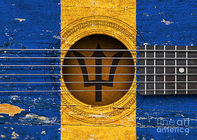 Six Flags Digital Art - Flag Of Barbados On An Old Vintage Acoustic Guitar by Jeff Bartels