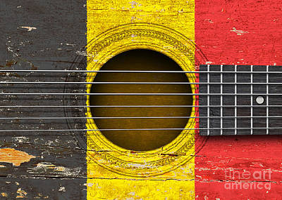 Six Flags Digital Art - Flag Of Belgium On An Old Vintage Acoustic Guitar by Jeff Bartels