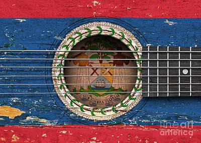 Six Flags Digital Art - Flag Of Belize On An Old Vintage Acoustic Guitar by Jeff Bartels
