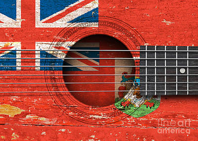Six Flags Digital Art - Flag Of Bermuda On An Old Vintage Acoustic Guitar by Jeff Bartels