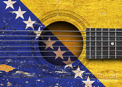 Six Flags Digital Art - Flag Of Bosnia - Herzegovina On An Old Vintage Acoustic Guitar by Jeff Bartels