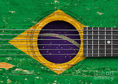 Six Flags Digital Art - Flag Of Brazil On An Old Vintage Acoustic Guitar by Jeff Bartels