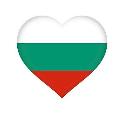 Flag Of Bulgaria Heart Art Print