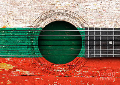 Flag Of Bulgaria On An Old Vintage Acoustic Guitar Art Print
