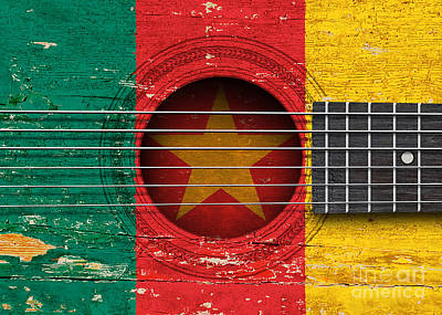 Flag Of Cameroon On An Old Vintage Acoustic Guitar Art Print