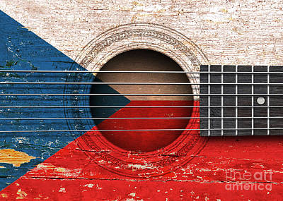 Flag Of Czech Republic On An Old Vintage Acoustic Guitar Art Print