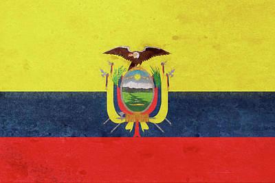 Condor Digital Art - Flag Of Ecuador Grunge. by Roy Pedersen