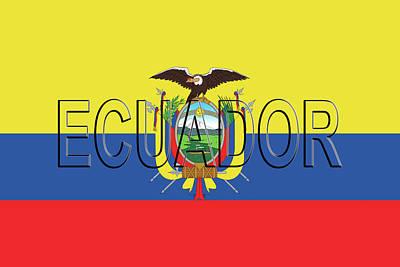 Condor Digital Art - Flag Of Ecuador Word by Roy Pedersen