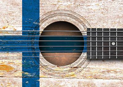 Jeff Digital Art - Flag Of Finland On An Old Vintage Acoustic Guitar by Jeff Bartels