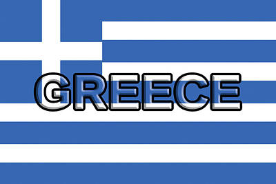 Greek Icon Digital Art - Flag Of Greece With Text by Roy Pedersen