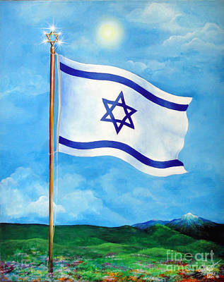 Jewish Pride Painting - Flag Of Israel. Land Of Freedom by Sofia Metal Queen