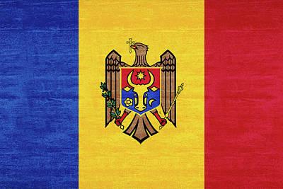Moldova Digital Art - Flag Of Moldova Grunge by Roy Pedersen