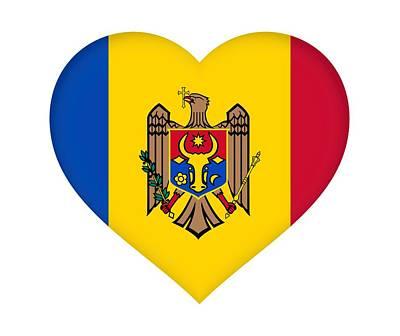 Moldova Digital Art - Flag Of Moldova Heart by Roy Pedersen