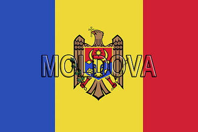 Moldova Digital Art - Flag Of Moldova Word by Roy Pedersen