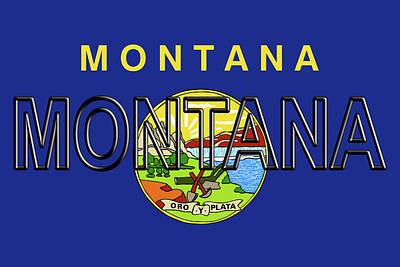 State Of Montana Digital Art - Flag Of Montana Word by Roy Pedersen