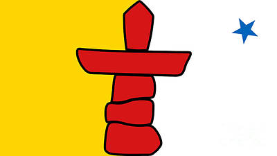 Flag Of Nunavut High Quality Authentic Hd Version Art Print by Bruce Stanfield