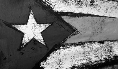 Flag Of Puerto Rico B W Art Print by Rob Hans