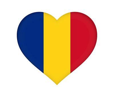 Romanian Icons Digital Art - Flag Of Romania Heart  by Roy Pedersen